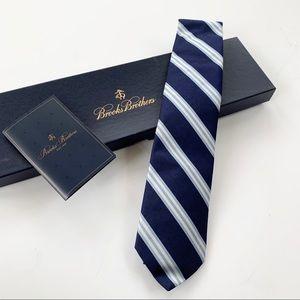 Brooks Brothers Navy Silk Stripe Tie NWT and Box